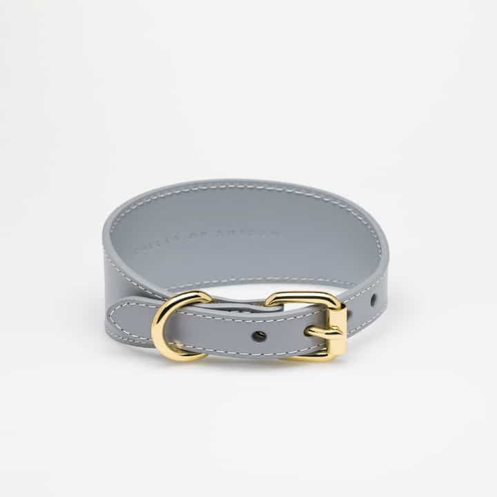Grey Leather Collar Medium Wide