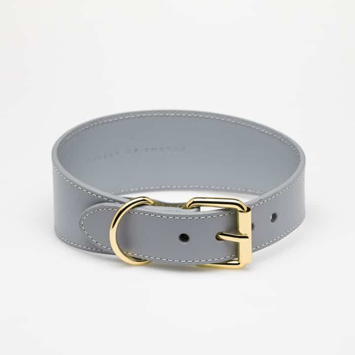 Grey Leather Dog Collar Medium Wide