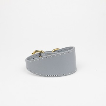 Grey Leather Collar Small Wide 02