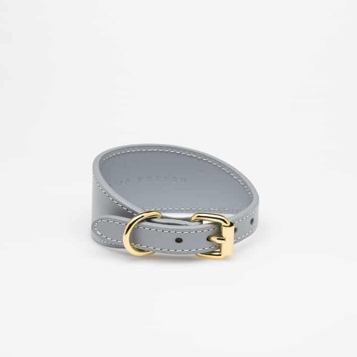 Grey Leather Dog Collar Small Wide